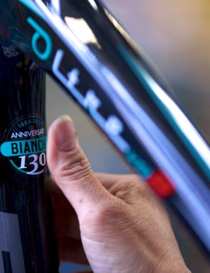 A Bianchi Oltre XR.2 gets the company's 130th anniversary logo