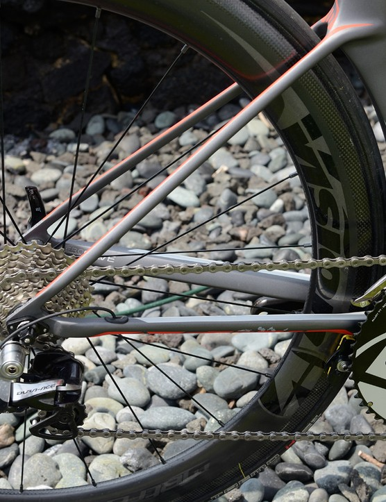 The seat stays are thin but completely solid for vibration damping and stiffness