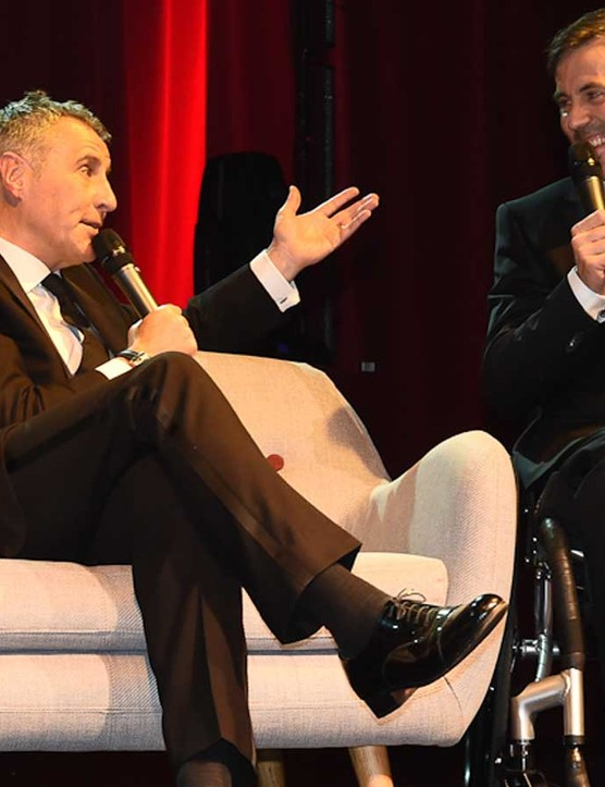 Dermot Murnaghan chats with Martyn Ashton during the evening