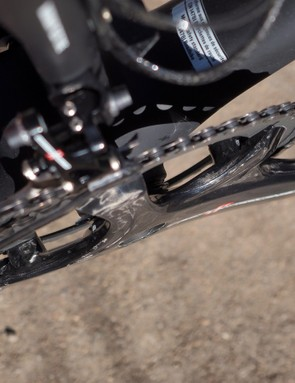 Have issues with heel rub? The sleek lines on the new Campagnolo Super Record crankset should help