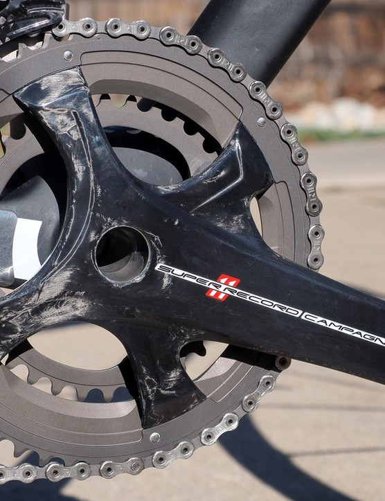 Campagnolo definitely caused a stir after photos first surfaced of its new four-arm crankset design but it does look much better in person