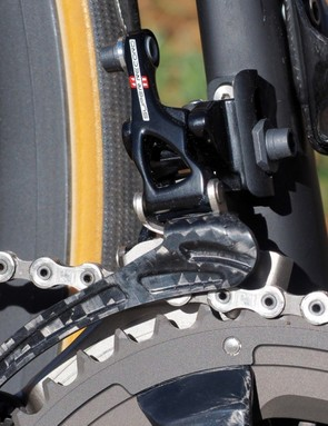 The new front derailleur gets a revised pivot geometry