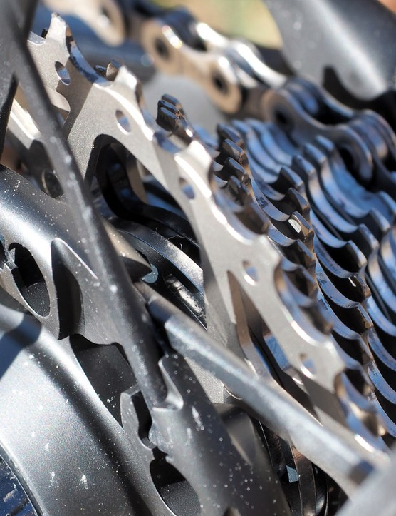 While Shimano has moved to composite spiders on its latest Dura-Ace cassettes, Campagnolo sticks with aluminum