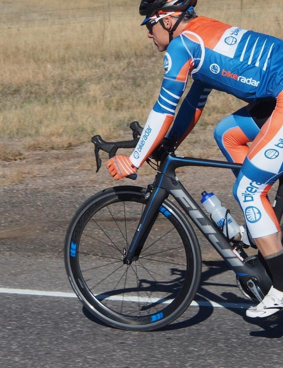 The Fuji Transonic aero road bike debuted this year at the Tour de France. We enjoyed the responsive ride. While stiff at the bottom bracket, the bike isn't overly harsh like some aero frames are