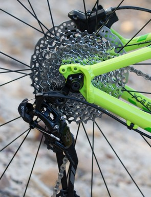 SRAM provides the wide range 10-speed gearing out back