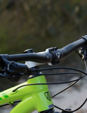 Wide Bontrager handlebars provide leverage over the big wheels and help with high-speed confidence