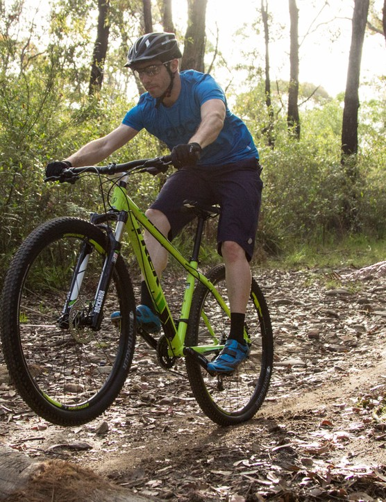 Out on the trail, the ride from the X-Caliber's geometry shines well above what you'd expect at this price
