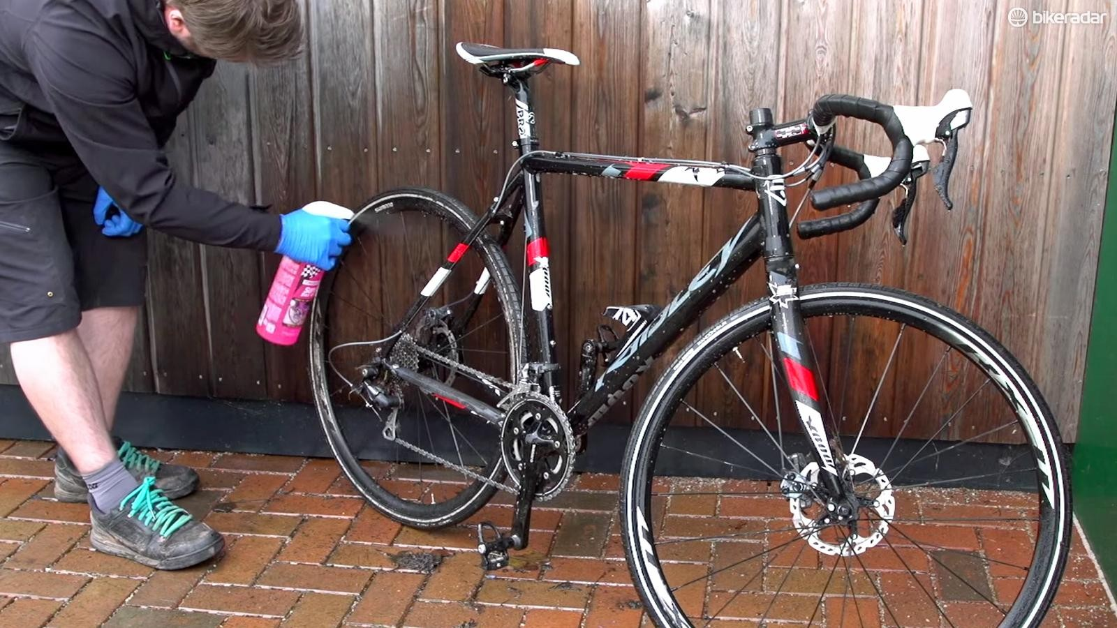 Spray the whole bike with bike cleaning fluid