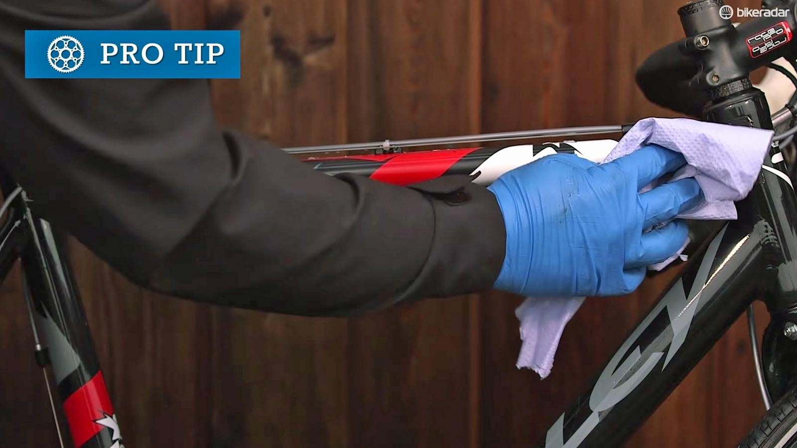 Buff with PTFE spray or silicone bike polish to give a lustrous shine
