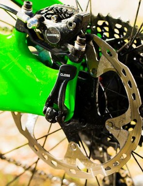 Shimano XT stoppers bring you to a halt
