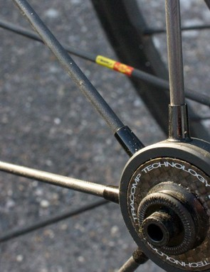 The spokes are carbon and there's more of the black stuff on the hubs