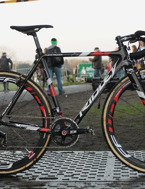 Belgian World Cup leader Kevin Pauwels' Ridley X-Night. After winning the first World Cup cyclo cross race outside of mainland Europe, we grabbed Pauwels' bike fresh from the jet wash, which meant some evidence of the day's race before its final clean