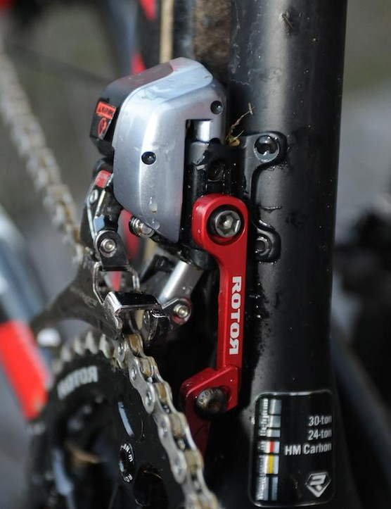 The Dura-Ace Di2 front mech is supplemented by a Rotor chain catcher as dropped chains with Di2 can cost a lot of time