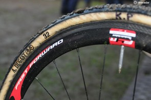 Fast Forward F4R tubular wheels are a popular choice, as are Dugast tubulars - seen here with some persistent Milton Keynes toothpaste!