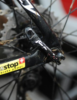 The team use SwissStop brake pads, as this well-worn rear end shows