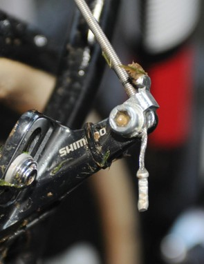 Pauwels' Challenge Limus-shod race bike had cable ties around each of the cantlilever arms, presumably to support the return spring