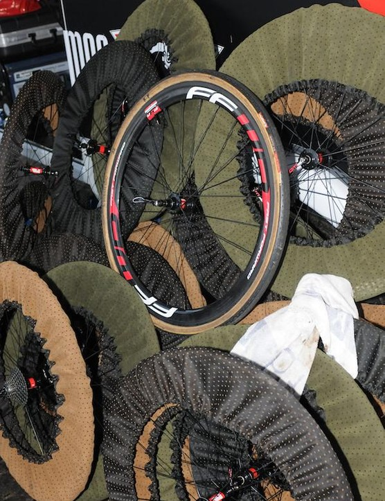 Who needs big name branded wheel covers? Pauwels' crew have a selection of polka dot custom made wheel covers to protect their wheel armoury between races - they were packing up to drive to the next day's Bpost Trofee event in Belgium. What better use for your old curatins?