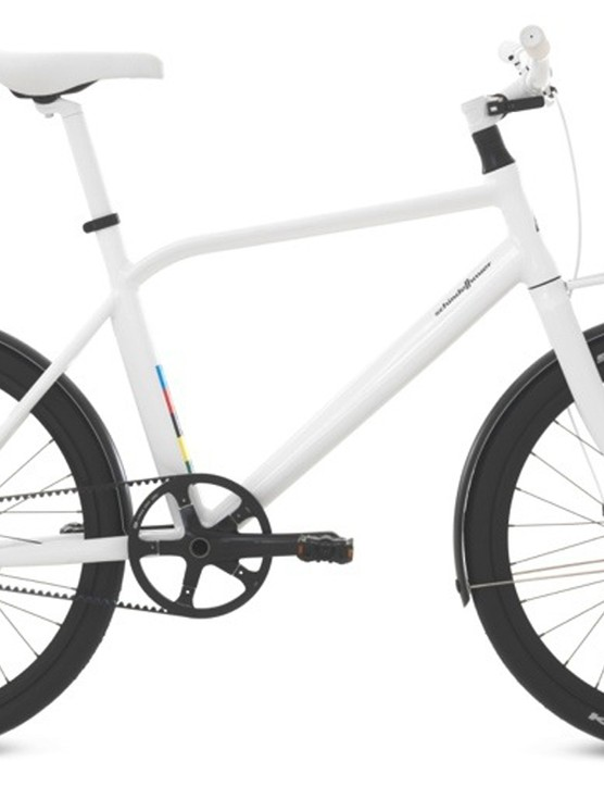 The polar white paint scheme gives the bike an ultra minimalistic look