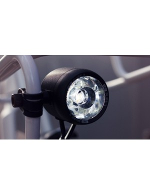 The front light is powered by a front hub dynamo