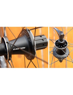 The rear hub features 20 Sapim bladed spokes, all laced in a crossed pattern to boost torsional stiffness. Slim stainless steel reinforcement rings bolster the flanges, allowing them to be made lighter while still maintaining strength
