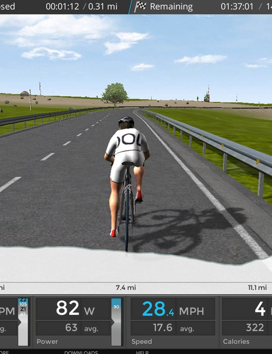 Bkool Simulator software lets you ride courses in 2D, 3D (shown) or video