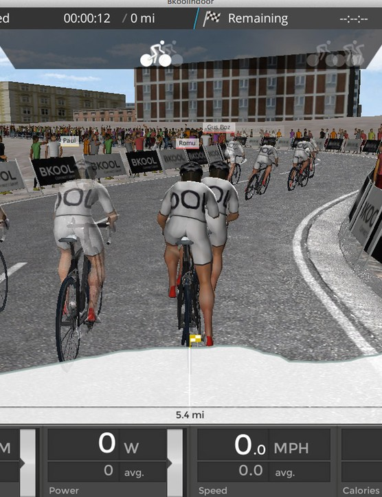 Bkool software enables you to race others around the world virtually