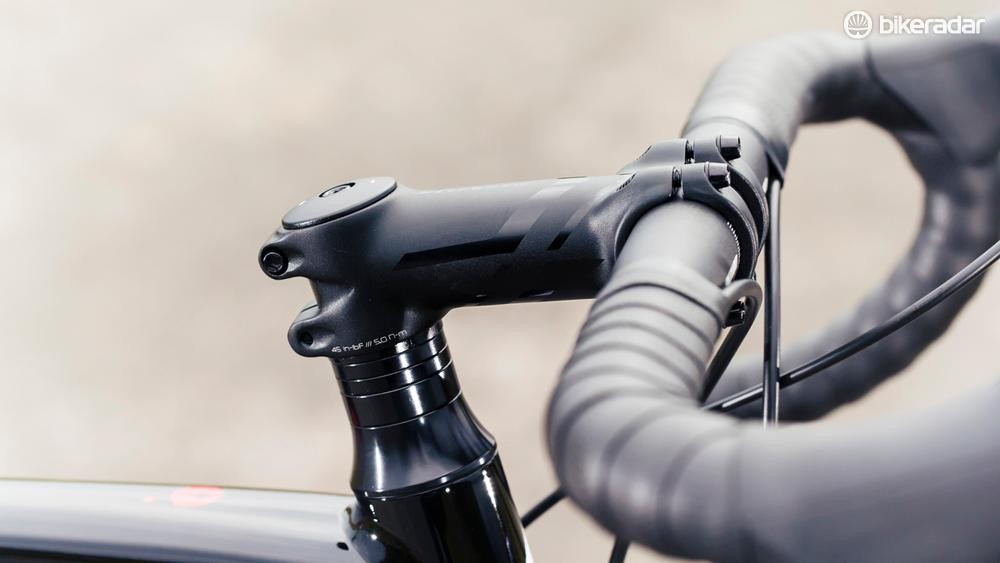Gel bar tape assists both comfort and confidence; a stainless steel stem bolt is a nice foul-weather touch