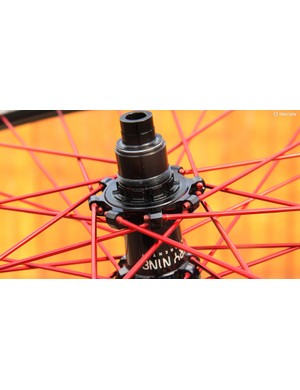Industry Nine's unique construction method uses machined aluminum spokes that thread directly into the hub flanges. Truing is performed as usual, though, and in the event that a spoke breaks, there's a supplemental hex fitting in the end to help get it out of the hub