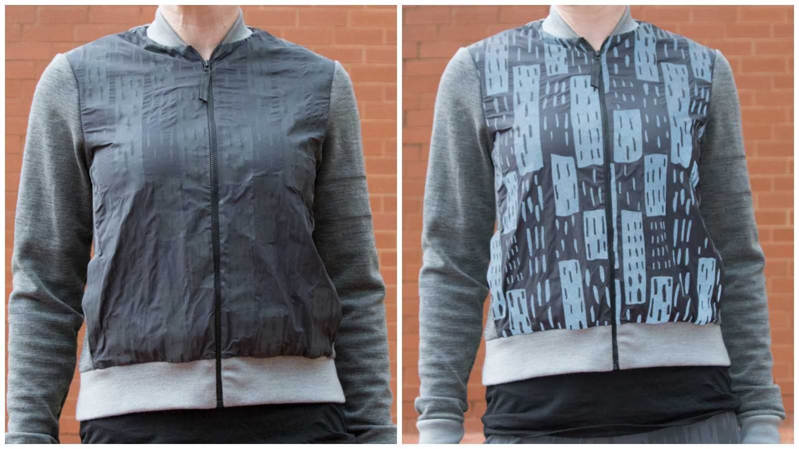 The front panel of the Printed Bomber reflects light