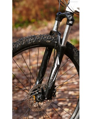 Suntour's journeyman XCM fork performed acceptably on our test machine –though Kenda's Slant Six treads were a scary prospect in the wet