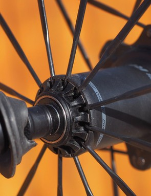 The Phantom Flange design is slick in that it offers a thoroughly modern look but still uses standard J-bend spokes