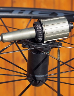 One slick feature of the rear hub is that the freehub body and axle can be removed without tools. While this eases certain maintenance aspects, it also makes for a much more compact package for cyclists who regularly have to stuff their dedicated travel bikes into airline-compliant cases