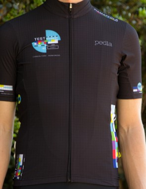 The prototype TEST jersey is made with brand new M.I.T.I. carbon fabric