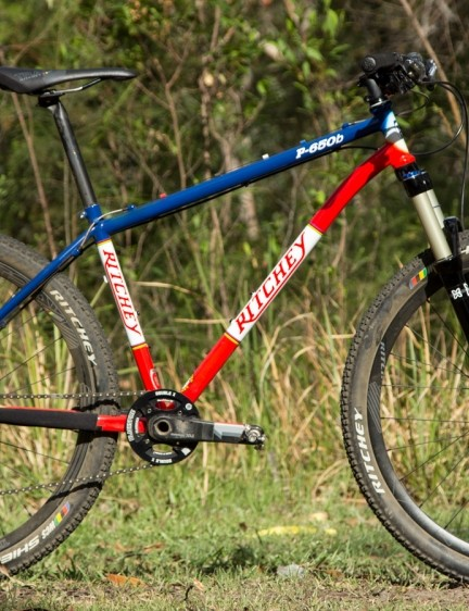 Our complete tester featured a whole bunch of Ritchey components, an X-Fusion fork, Shimano XT brakes and a converted 1x10 SRAM drivetrain