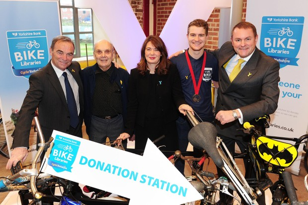 Bernard Hinault, Brian Robinson, Helen Page, Scott Thwaites and Gary Verity (l-r) attend the launch event for Yorkshire Bank Bike Libraries