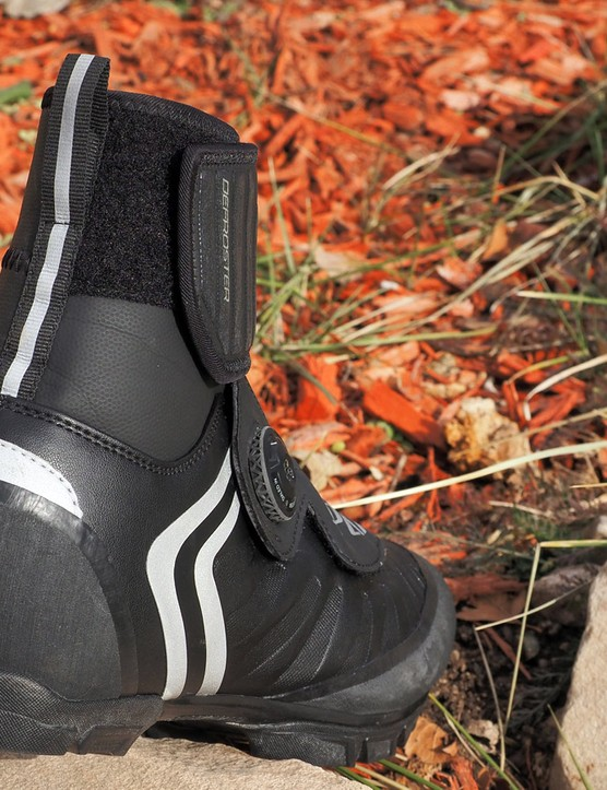 Reflective details are generally applied to the side and rear of the shoe for night-time visibility
