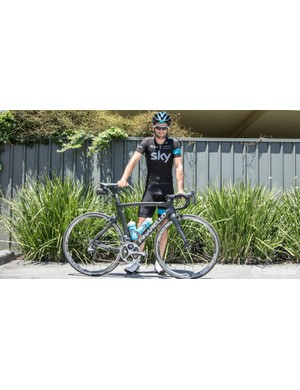 Nathan Earle and his Pinarello Dogma F8 on one very hot summers day on a training week in Nowra, NSW