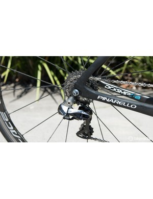 A Dura-ace 11-28T cassette helps Earle spin a little more up his steep local Tassie climbs