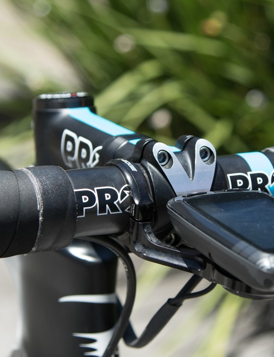 Connected to a Stages power meter crank arm, a Garmin Edge 510 tracks his ride