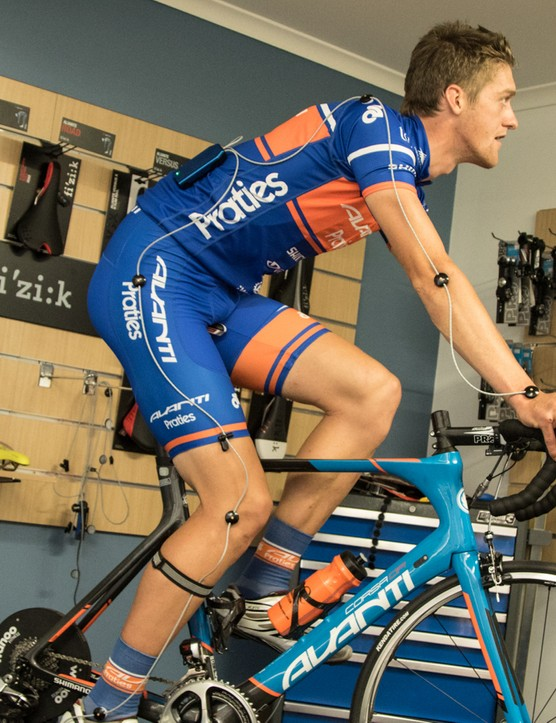Another New Zealand signing, Fraser Gough, undergoing a bike fit on his new Avanti