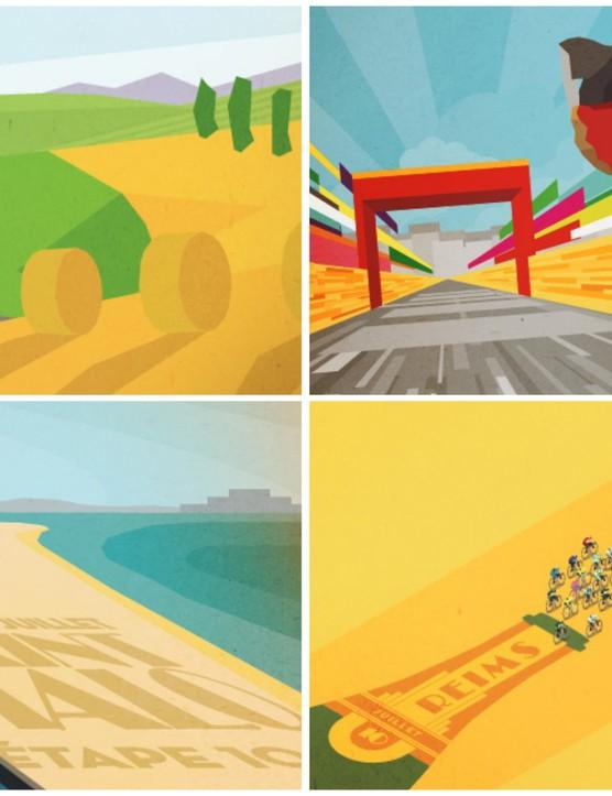Bruce creates prints commemorating each stage of the Tour de France