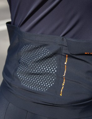 The back of the jersey and bib shorts are designed to light up when chased from behind at night