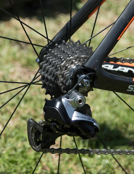 It's all stock Shimano Dura-Ace Di2 for shifting needs