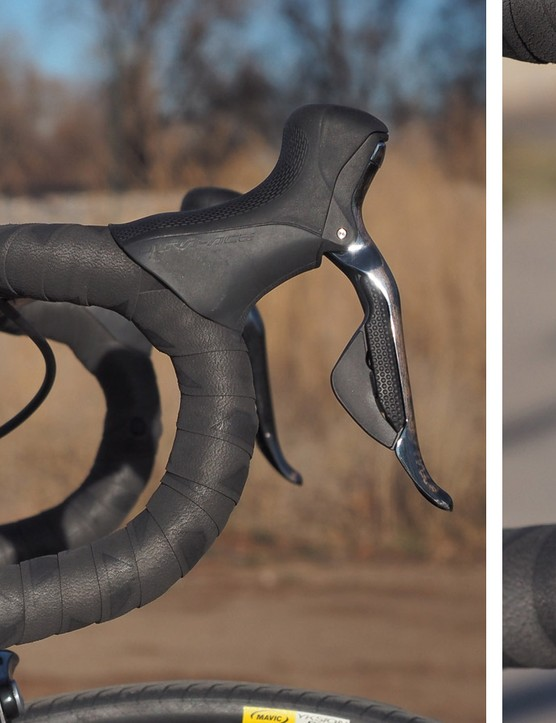 The deep drops and supplemental sprint shifters suit the bike's aggressive nature