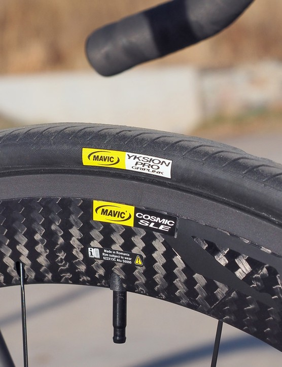 The Mavic wheel and tire combo feel fast in a straight line but the sharply pointed trailing edge and flat sides can be hard to manage in strong crosswinds. The rim's 13mm internal width is also disappointingly narrow