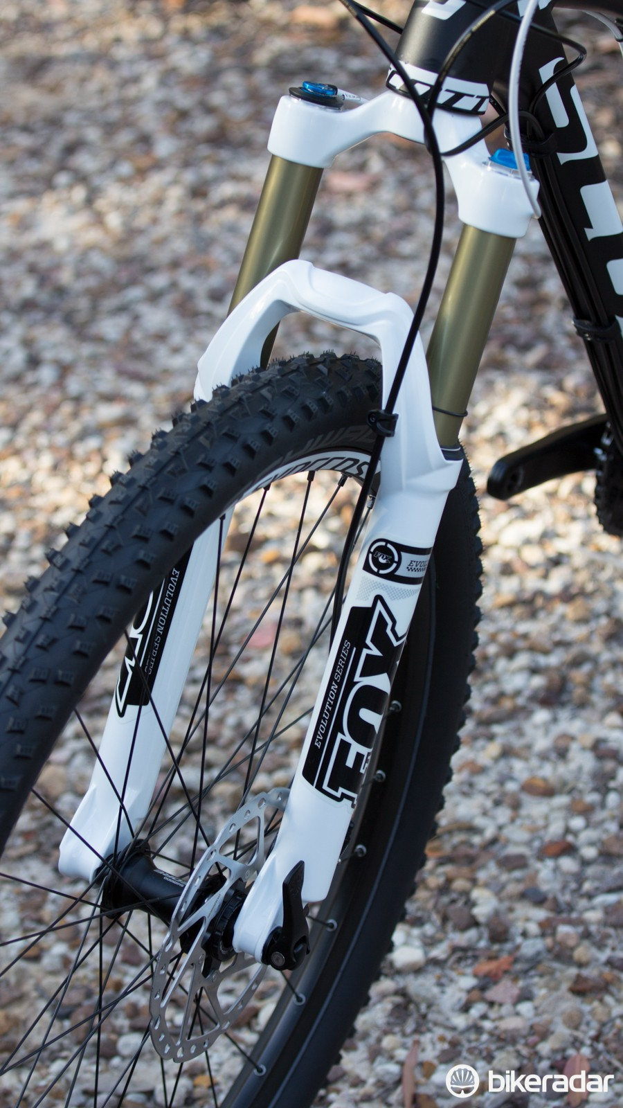 The base-model FOX Float Evolution fork is a nice match with the rear shock. A tapered steerer and 15mm thru-axle help guide the Spark