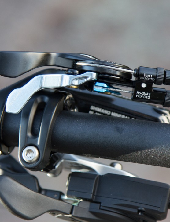 The TwinLoc remote is a big part of the Spark's personality. The use of an I-spec clamp for the shifter and brake lever helps to clean up the handlebar