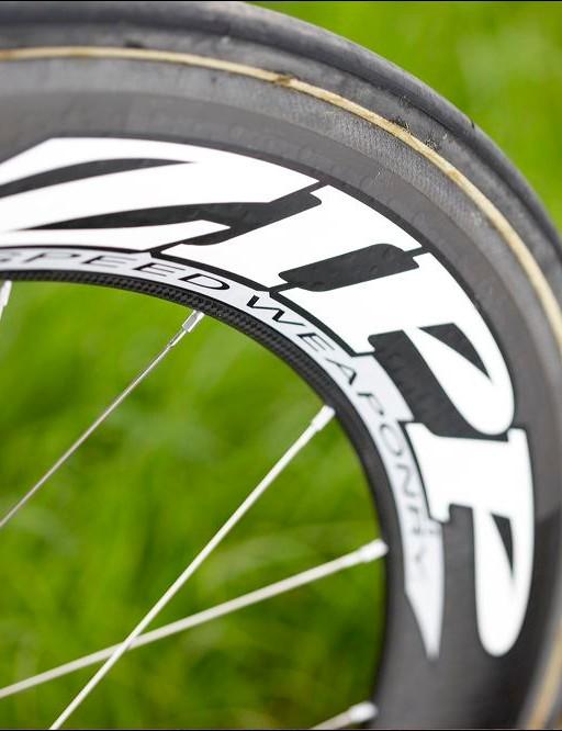 Slippery Zipp 808 front wheel slices the wind