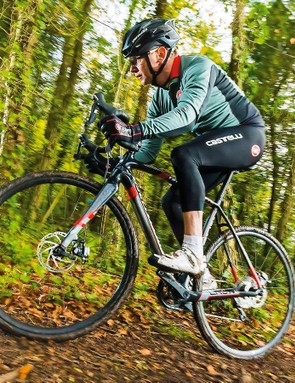 The Crux Elite is surefooted and comfortable on the trails, though its rolling stock lacks a little race pace