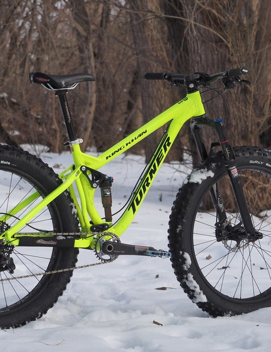 The Turner King Khan is a beast of a fat bike with 120mm of travel at either end and room for 5in tyres